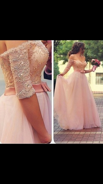 dress wedding dress prom dress fairy tale pink dress peach dress long dress