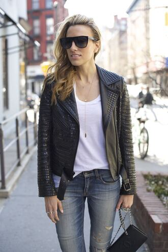 mind body swag blogger spiked leather jacket chanel bag