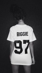 t-shirt,biggie,white t-shirt,karma,tattoo,number,biggie smalls,dope,wang,shirt,blouse,white,hip hop,black,jersey,shirt sleeve,biggie 97,90s style,97,swag,biggie shirt,colorful,brand,dress