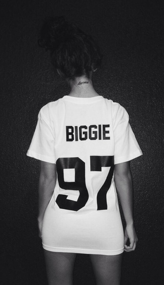 t-shirt biggie white t-shirt karma tattoo number biggie smalls dope wang shirt blouse white hip hop black jersey shirt sleeve biggie 97 90s style 97 swag biggie shirt colorful brand dress