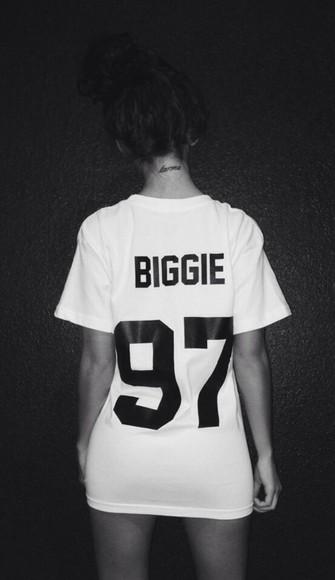 color brand t-shirt biggie white t-shirt karma tattoo biggie smalls dope wang biggie shirt blouse white streetwear black jersey shirt sleeve biggie 97 1990's 97 swag biggie shirt