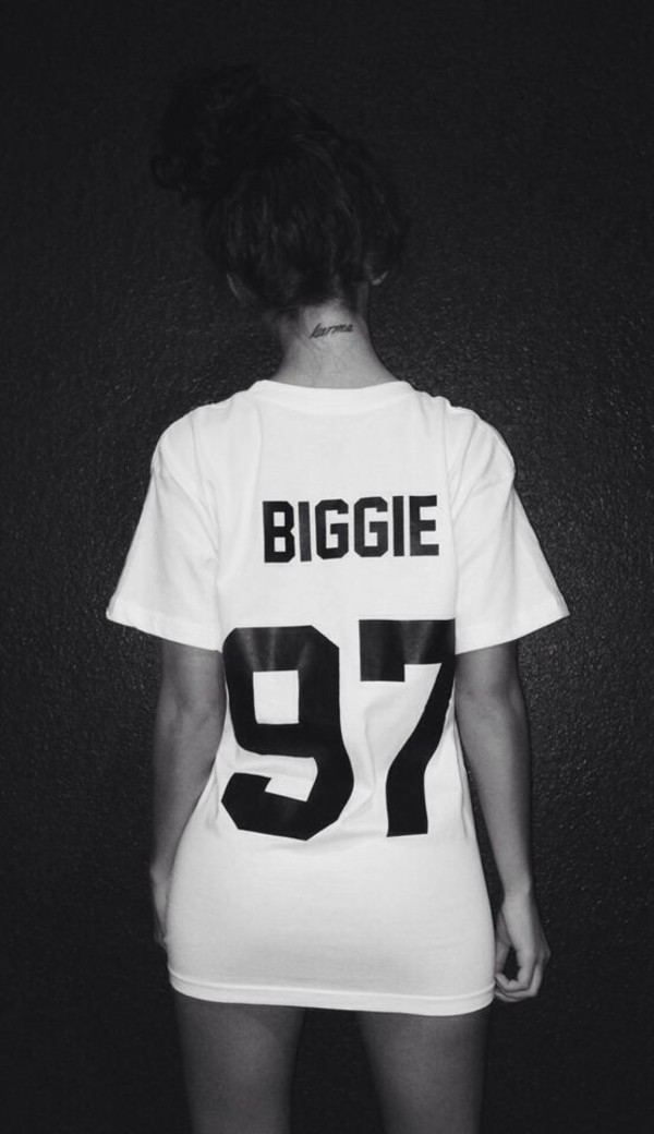 t-shirt biggie white t-shirt karma tattoo number biggie smalls dope wang shirt blouse white hip hop black jersey shirt sleeve biggie 97 90s style 97 swag biggie shirt colorful brand dress t-shirt