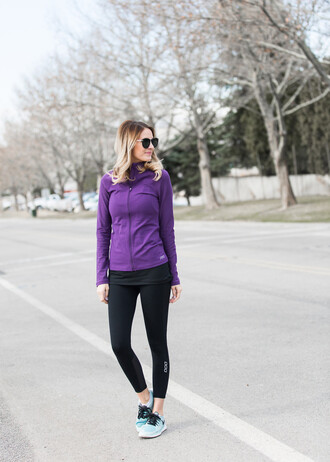 ivory lane blogger jacket tights tank top sunglasses purple long sleeves yoga pants workout sportswear sneakers