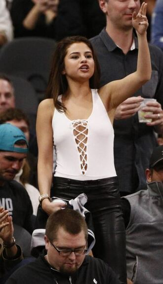 top bodysuit selena gomez lace up white top