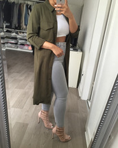 coat,green,Khaki coat,khaki,asos,green coat,nude heels,jeans,shoes,army green jacket,trench coat,grey high waisted jeans