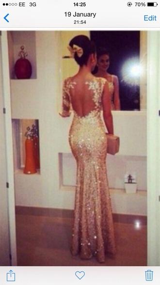dress prom dress gold sequins