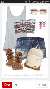 shorts,bandaeu,flat sandals,shirt,shoes,tank top,bandeau,colorful