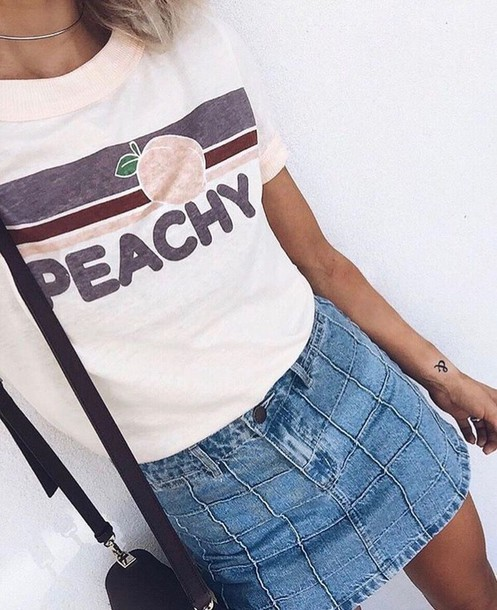 T Shirt Top White Pastel Vintage Retro Peach Peachy Art Hoe Arthoe