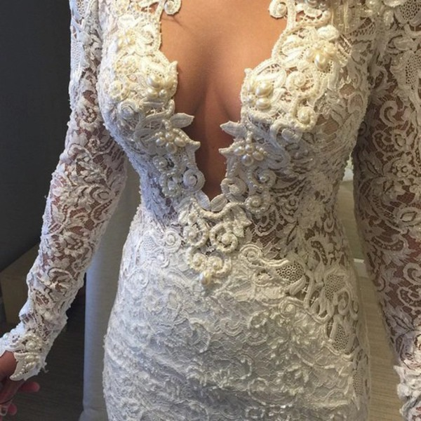 dress white dress long sleeves long sleeves white pearl design fashion cute dress white dress lace the most popular dresses lace dress white lace dress lace wedding dress laces perls prom dress