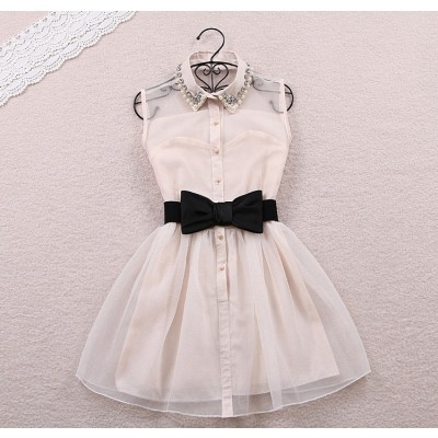 Buy Fashion Clothing -  Khaki Tutu Skirt Bow Belt Beaded Collar Lace Women's Dress - Dresses