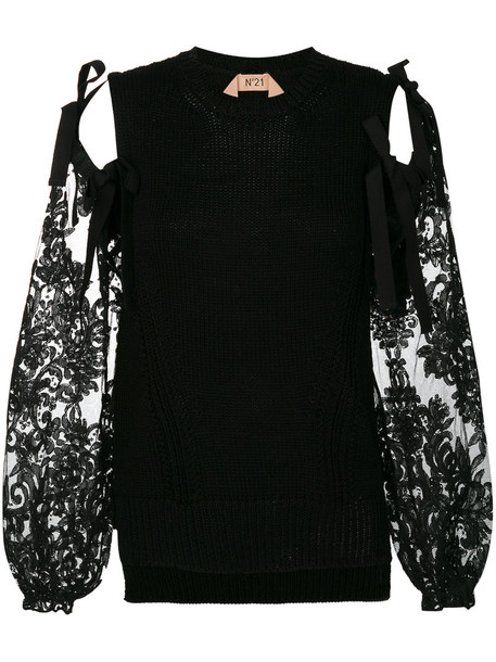 No21 top women lace cotton black silk