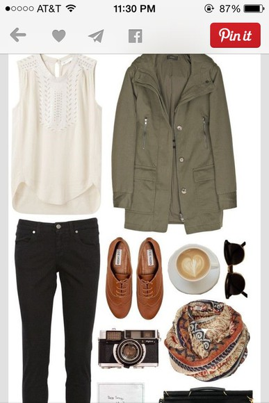 scarf jacket shoes top