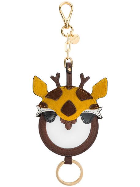bag charm metal fur women giraffe bag leather brown