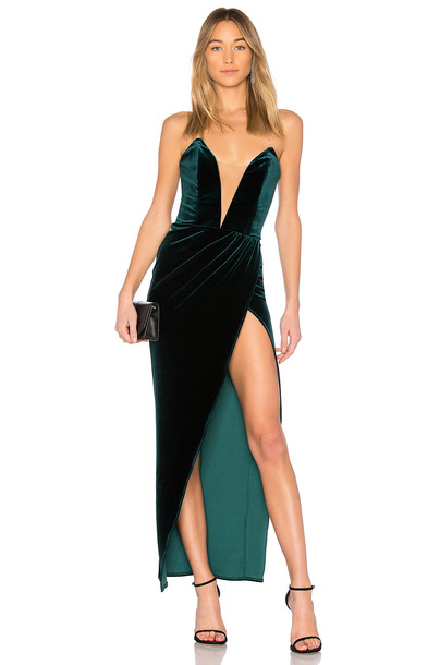 Michael Costello gown green dress