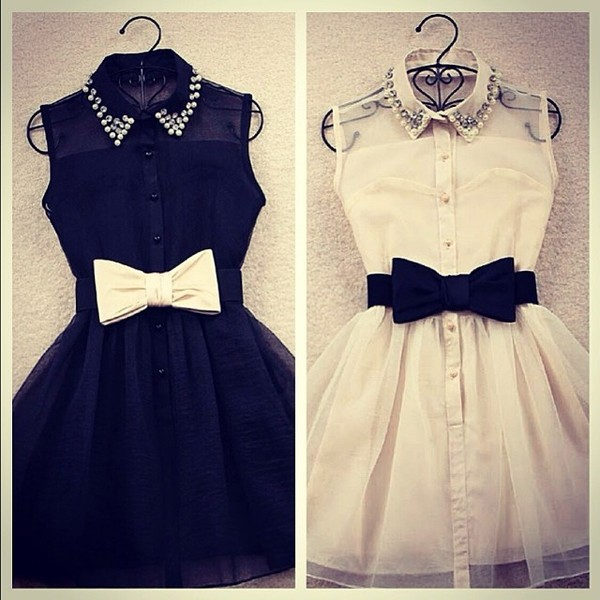 Dress little black dress bows instagram belt black white collar pearl