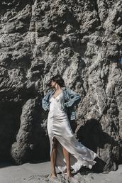 dress,tumblr,silk dress,maxi dress,front slit,slit dress,slip dress,white slip dress,long dress,jacket,denim jacket,blue jacket,silk slip dress