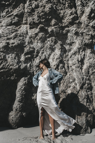 dress tumblr silk dress maxi dress front slit slit dress slip dress white slip dress long dress jacket denim jacket blue jacket silk slip dress