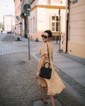 dress,floral dress,midi dress,slide shoes,shoulder bag,black sunglasses,earrings