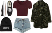 shirt,high waisted levi's shorts,camo jacket,beanie,vans,crop tops,jacket,shoes,shorts