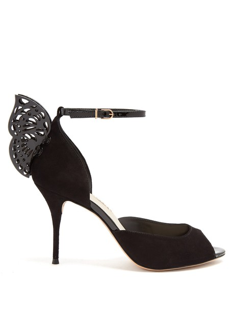 Sophia Webster butterfly sandals suede black shoes