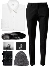 pants,shirt,white,black,classic,office outfits