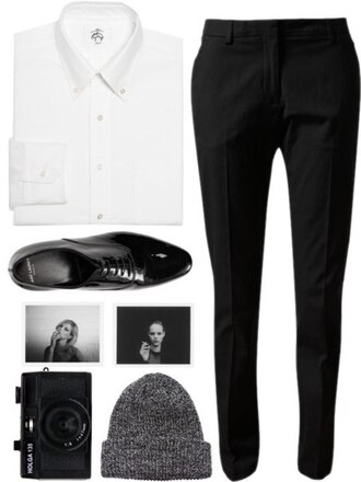 pants shirt white black classic office outfits