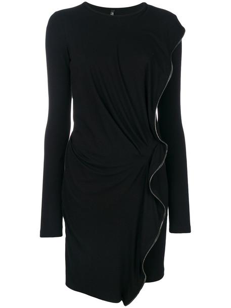 dress sweater dress zip women spandex embellished black wool