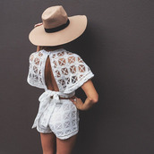 jumpsuit,short,crop tops,white,white jumpsuit,shorts,crochet,blouse,fedora,backless top,hat,two-piece,open back,white romper,sheer,white t-shirt,white shorts,romper,white top,cut-out shoulder top