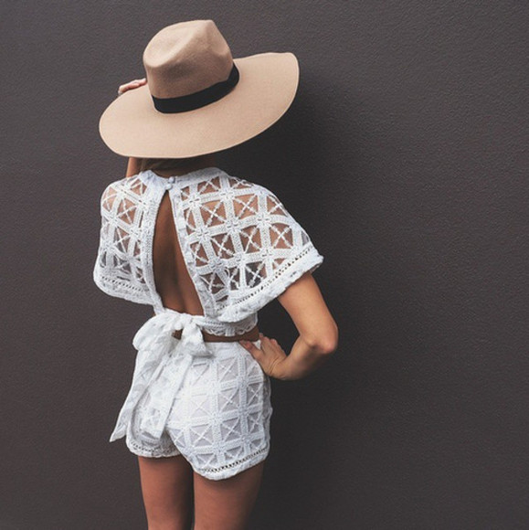 brown hat hat jumpsuit matching short crop tops white white jumpsuit jacket high waisted crochet top