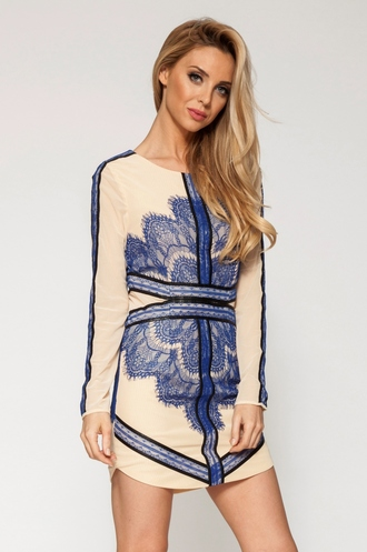 dress ustrendy ustrendy dress blue and nude lace dress lace dress nude and blue
