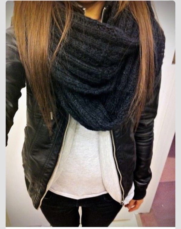 jacket scarf layer coat leather jacket t-shirt leather cloth inside black black scarf black jeans jeans black jacket