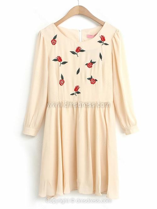 Beige Long Sleeve Rose Embroidered Pleated Dress for HPL - Dmsdress.com