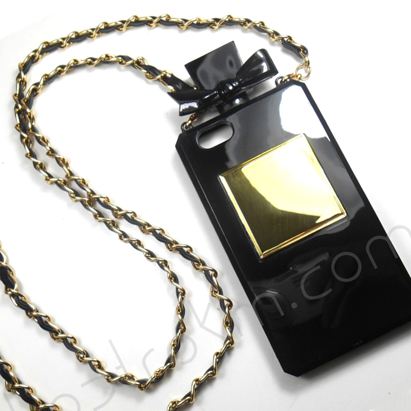 Spray Of Glamorous Black iPhone 5 5S Tough Rubber Perfume Phone Case With Crossbody