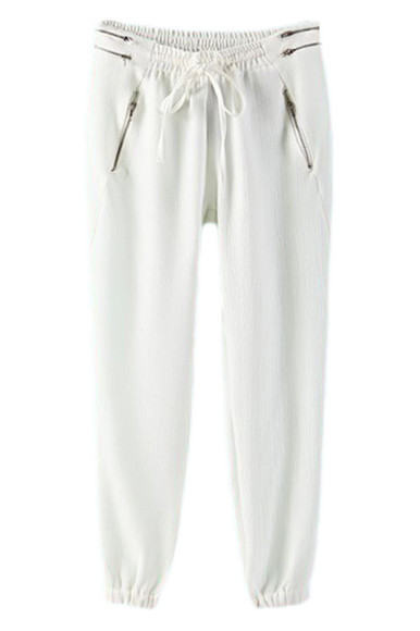zipper drawstring sweatpants