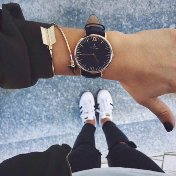 Black Faced Watch Brown Shoes