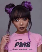 hair accessory,tumblr,hair,hairstyles,hair bun,purple hair,make-up,eye makeup,eyeliner,eye shadow,dark lipstick,lipstick