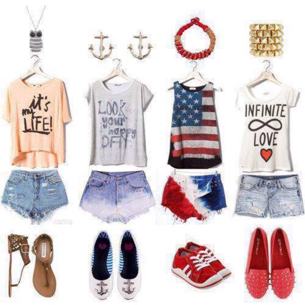 shirt american quote on it denim shorts shoes sandals sneakers flats necklace earrings bracelets jewels t-shirt