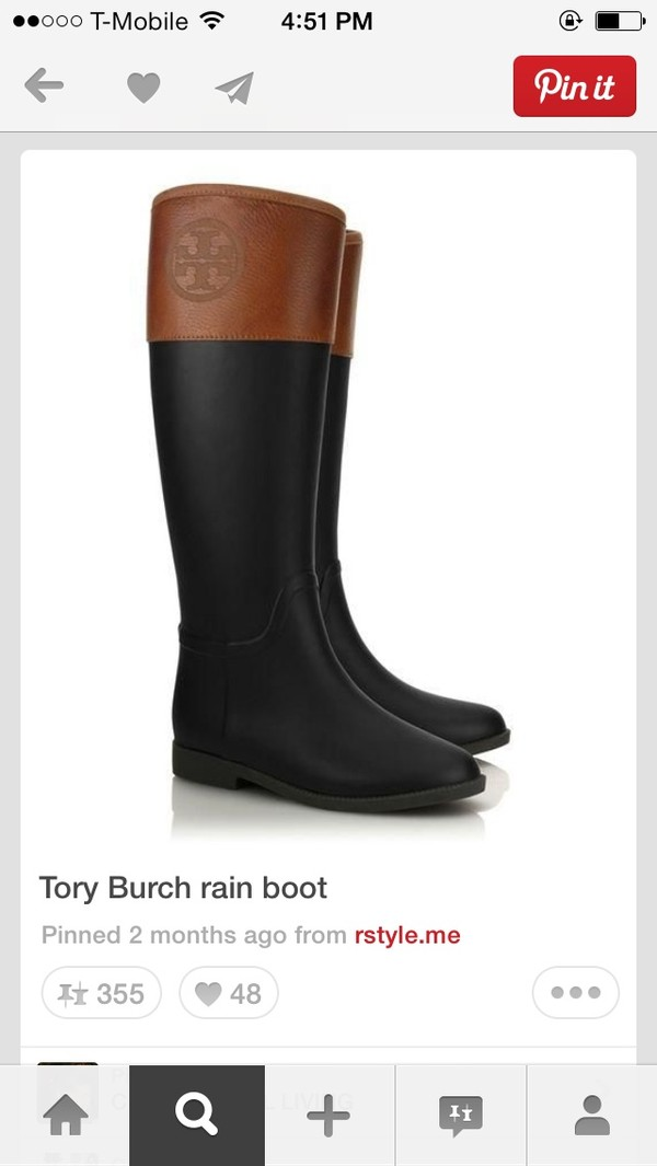 shoes black rain boots tory burch