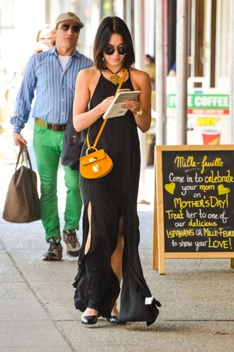 dress black dress maxi dress vanessa hudgens flats slit dress bag purse