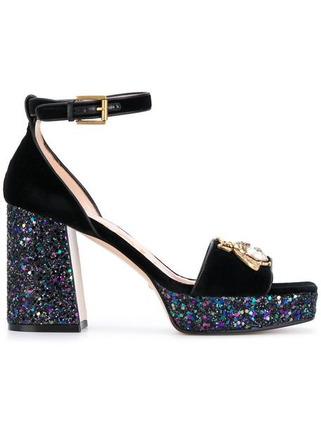 gucci heel women sandals leather blue velvet shoes