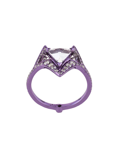Noor Fares women ring gold white purple pink jewels