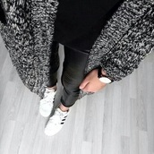sweater,knit,black,white,watch,street,style,fashion,leather,faux,fall outfits,leggings,grey,chic,classy,needs,the fifth,knitted sweater,adidas,adidas originals,faux fur,winter outfits,photography,closet needs,urban
