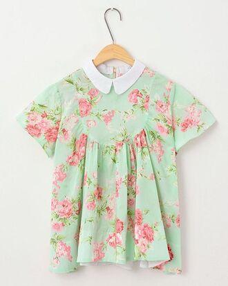 t-shirt kawaii floral mint