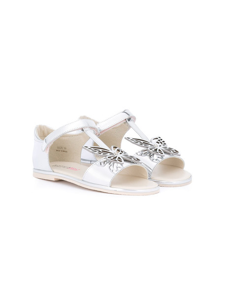 butterfly sandals leather grey metallic shoes