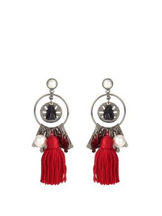 tassel earrings red jewels