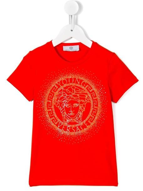Young Versace - Medusa studded T-shirt - kids - Cotton/Spandex/Elastane - 4  yrs, Red
