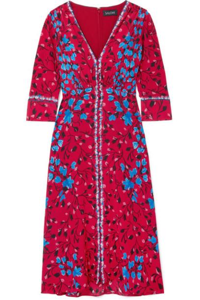 dress midi dress midi floral print silk red