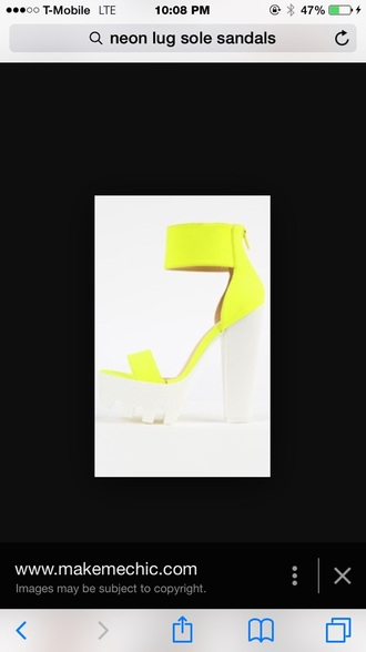 shoes neon lug sole platform shoes