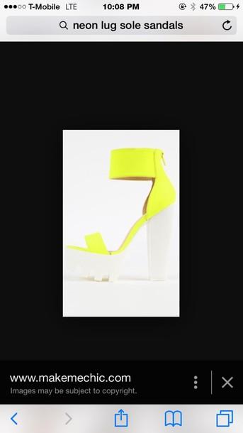 shoes neon lug sole platform shoes