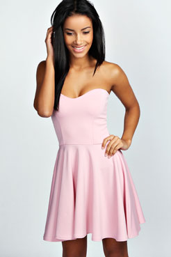 Polly Bandeau Skater Dress at boohoo.com